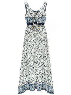Paisley Print Draped Midi Dress - Light Blue Xl