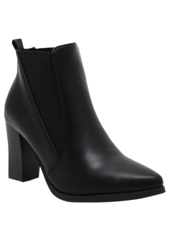 Pointed Toe Chunky Heel Elastic Ankle Boots - Black 38