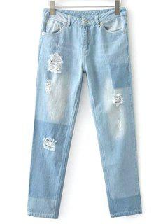 Broken Hole Boyfriend Jeans - Light Blue M