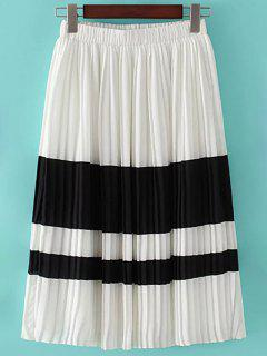 Color Block Elastic Waist Pleated Skirt - White L