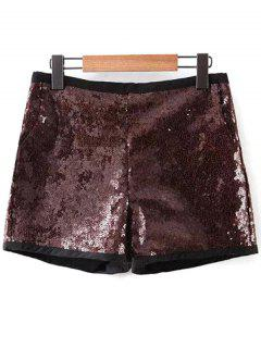 Back Zipper Sequins Shorts - Deep Brown S