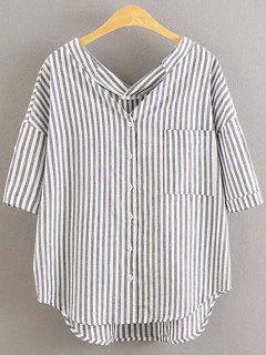 Adrette Art Striped Dropped Hülsen-Hemd - Grau S