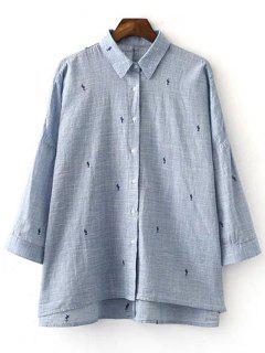 Camisa De Manga Larga Bordado Cuello De La Camisa - Azul Claro L
