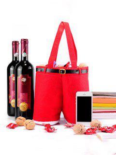 Pantalones De Santa Navidad Regalo Candy Bag Bolsa Vino Tinto - Rojo