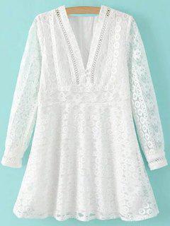 Blanco Recortable Hundiendo Vestido De Encaje De Manga Larga De Cuello - Blanco S