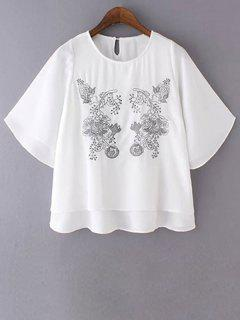 Loose Embroidered Round Neck Bat-Wing Sleeve T-Shirt - White S