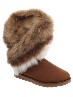 Color Block Faux Fur Snow Boots - Brown 38