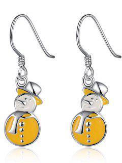 Enamel Snowman Christmas Drop Earrings - Yellow
