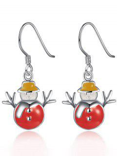 Enamel Snowman Christmas Earrings - Red