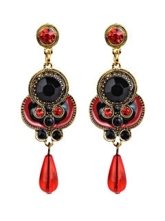 Rhinestone Faux Gem Bead Drop Earrings - Red