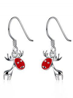 Christmas Deer Enamel Drop Earrings - Red