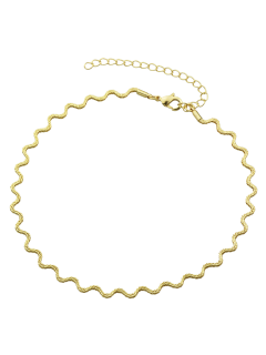Alloy Wavy Choker Necklace - Golden