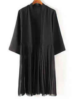 Tassels Spliced 3/4 Sleeve Black Coat - Black M