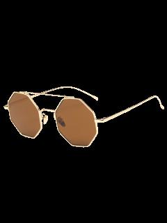 Retro Crossbar Polygonal Metal Sunglasses - Tea-colored
