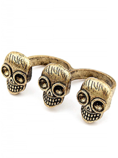 Three Skulls Open Double Rings - Golden One-size