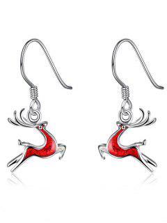 Christmas Elk Enamel Drop Earrings - Red