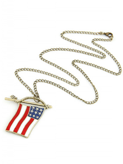 Stars And Stripes Flag Pendentif Pull Chain - Or