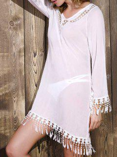 Cut Out V-Neck Long Sleeve See-Through Chiffon Dress - White Xl