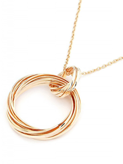 Two Hollow Circle Rings Sweater Chain - Golden
