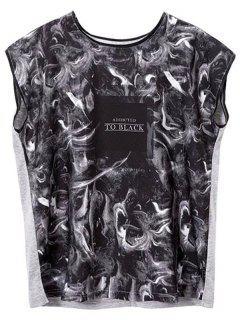 Impresa Cuello Redondo Hendidura Lateral De La Camiseta - Negro Gris M