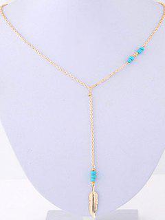 Leaf Pendant Bead Necklace - Golden