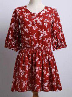 Tiny Flower Print Round Neck Puff Sleeve Dress - Red L