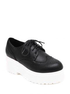 Engraving Solid Color Lace-Up Platform Shoes - Black 35