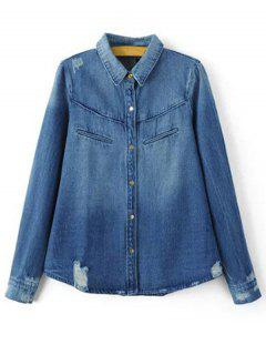 Ripped Turn-Down Collar Long Sleeve Denim Shirt - Blue S