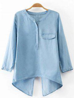 Back Slit Stand Neck 3/4 Sleeve Denim Blouse - Light Blue L