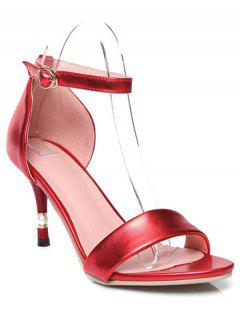 Ankle Strap Solid Color Stiletto Heel Sandals - Red 39