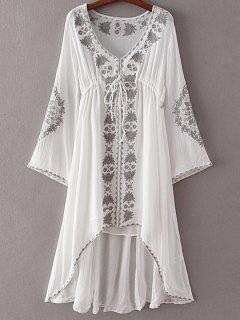 High-Low Hem V-Neck Long Sleeve Embroidery Dress - White S