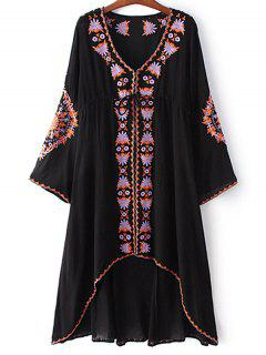High-Low Hem V-Neck Long Sleeve Embroidery Dress - Black S