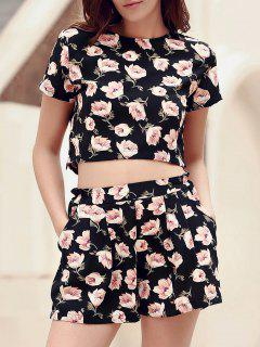 Floral Print Crop Top + Pocket Deisgn Shorts Twinset - Black L