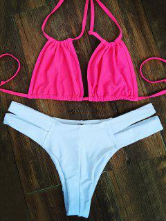 Hit Color Lace-Up Bikini Set - Pink And White Xl