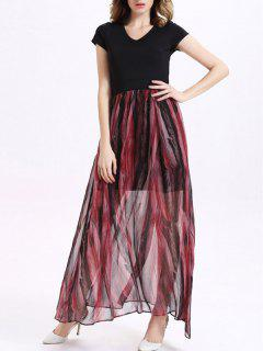 Printed V-Neck Short Sleeve Spliced Maxi Dress - Red With Black M