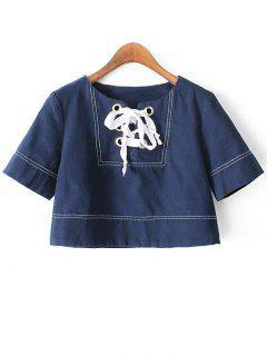 Contraste Stitching Recadrée T-shirt - Bleu Foncé M