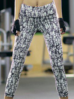 Printed Slim Fit Cropped Pants - White S
