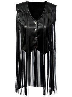 PU Leather Tassels V Neck Waistcoat - Black S