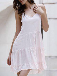 Vestido Monocromático De Tirante Fino Con Volantes - Rosa Xl
