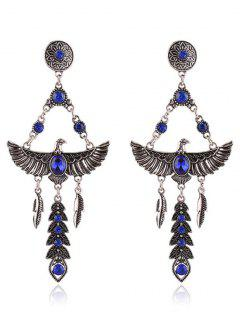 Pair Of Faux Crystal Decorated Eagle Earrings - Sapphire Blue