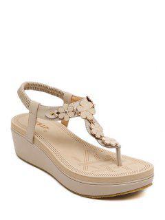 Flower Elastic Platform Sandals - Apricot 36