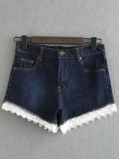 Lace Denim Shorts - Deep Blue M
