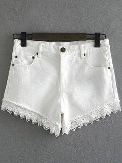 Lace Denim Shorts - White Xl