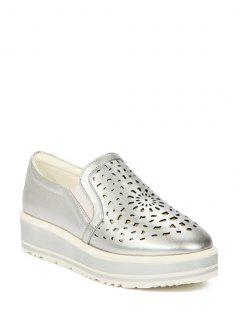 Hollow Out Slip-On Platform Shoes - Silver 37
