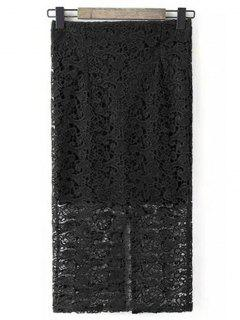 Guipure Lace Tube Skirt - Noir S