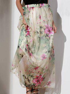 Floral Elastic Waist A Line Skirt - Xl