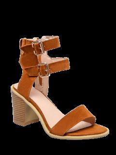 Solid Color Double Buckles Chunky Heel Sandals - Brown 39
