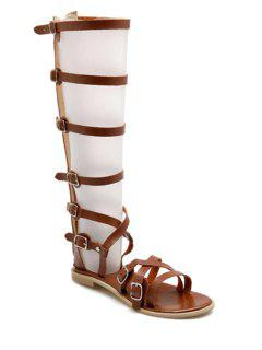 Buckles High Top Flat Heel Sandals - Brown 39