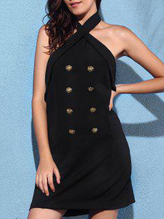 Backless Solid Color Cross Halter Sleeveless Dress - Black M