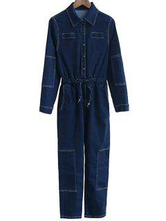 Deep Blue Denim Turn Down Collar Long Sleeve Jumpsuit - Deep Blue L